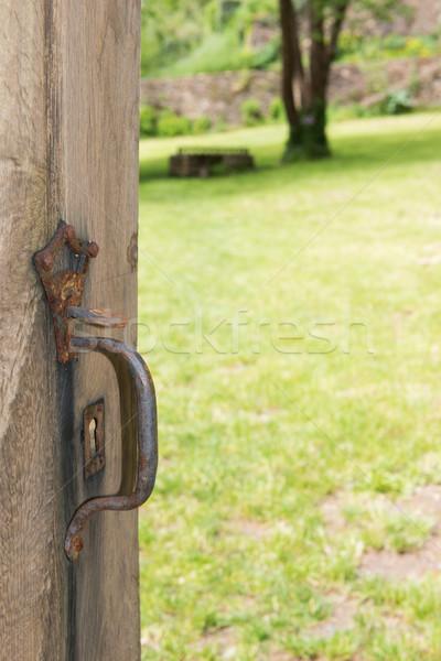 Oude Open deur gras tuin deur gazon Stockfoto © ivonnewierink