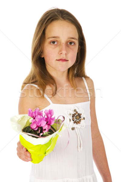 Young girl with a little plant for mothers day Stock photo © ivonnewierink