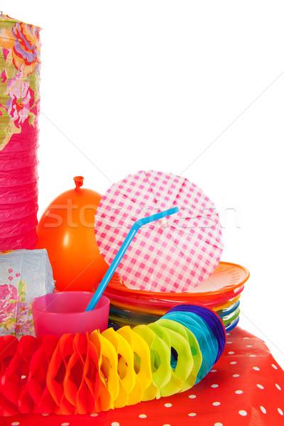 Tempo de festa colorido festa papel cadeias beber Foto stock © ivonnewierink