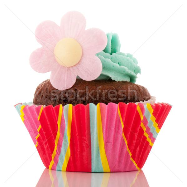 チョコレート 花 青 バタークリーム 孤立した ストックフォト © ivonnewierink