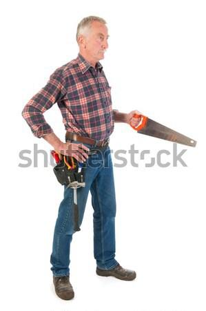 Werken zag senior man potlood achtergrond Stockfoto © ivonnewierink