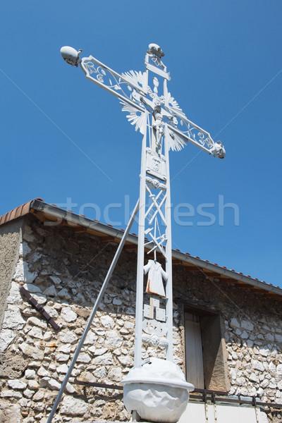Catholique croix extérieur français métal jesus Photo stock © ivonnewierink