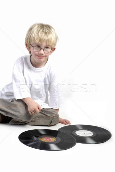 Criança surpreendido vinil preto música criança Foto stock © ivonnewierink