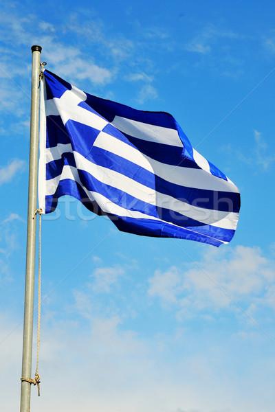 Grego bandeira vento ao ar livre Foto stock © ivonnewierink