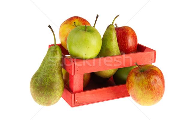 Láda almák körték fából készült tele Stock fotó © ivonnewierink