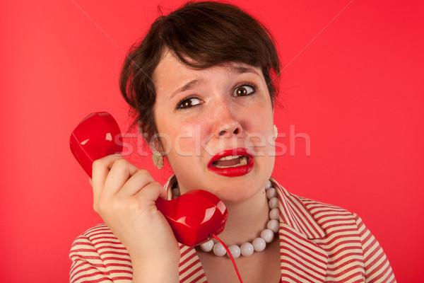 Femme triste coup de téléphone pleurer visage téléphone Photo stock © ivonnewierink
