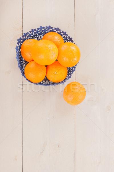 Oranges in blue basket Stock photo © ivonnewierink