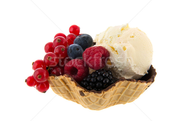 Fresh ice with fruit in bowl Stock photo © ivonnewierink