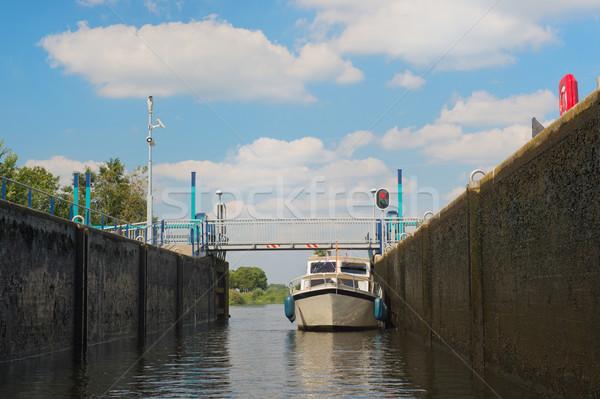 Boat in sluice Stock photo © ivonnewierink