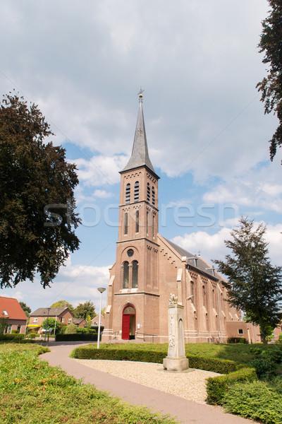 オランダ語 教会 村 建物 木 夏 ストックフォト © ivonnewierink