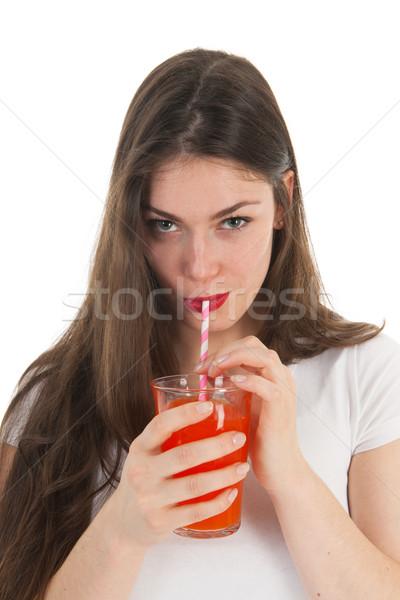 Girl drinking lemonade Stock photo © ivonnewierink