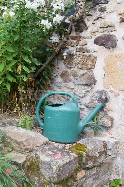 Sulama dokunun yeşil plastik bahçe Stok fotoğraf © ivonnewierink