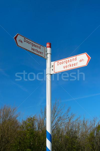 типичный голландский знак совета Blue Sky Сток-фото © ivonnewierink