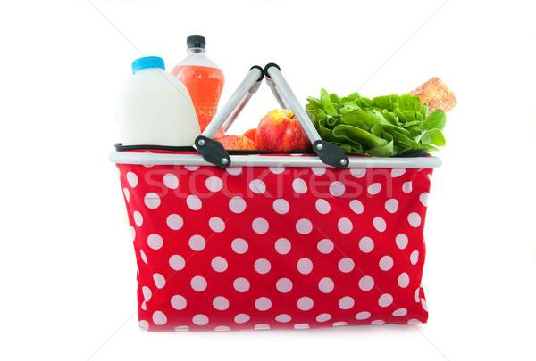Alışveriş çantası günlük ürünleri çiçekler meyve alışveriş Stok fotoğraf © ivonnewierink