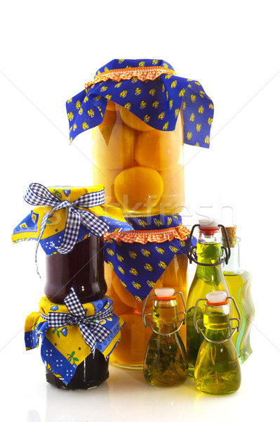 Korunmuş gıda cam şişeler meyve yağ Stok fotoğraf © ivonnewierink