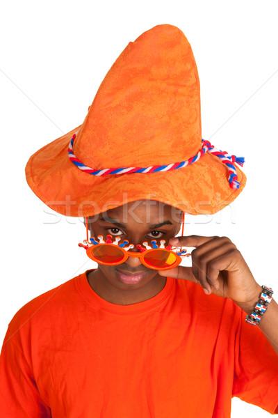 Stockfoto: Nederlands · voetbal · oranje · gezicht