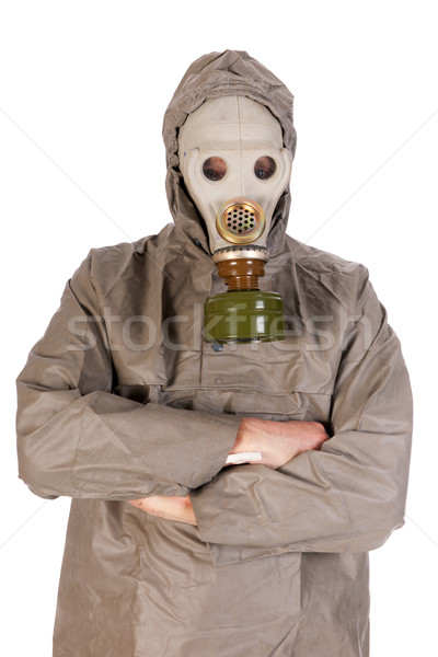Homme masque à gaz protection costume fond masque Photo stock © ivonnewierink