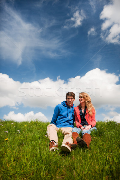 Young couple in nature Stock photo © ivonnewierink
