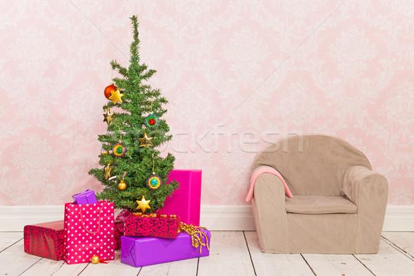 Сток-фото: Vintage · комнату · рождественская · елка · подарки · Председатель · красочный