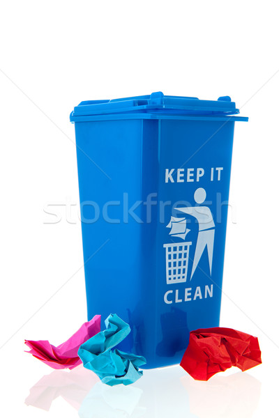 отходов корзины синий бумаги мусор изолированный Сток-фото © ivonnewierink