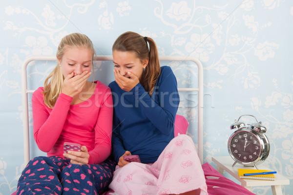 Teen girls with smartphones Stock photo © ivonnewierink