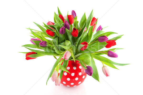 colorful tulips in red vase Stock photo © ivonnewierink