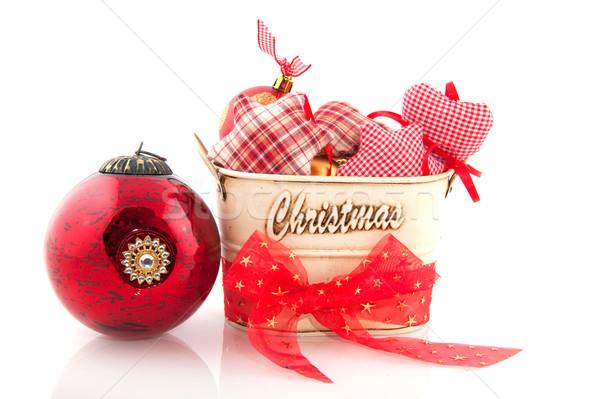 Stockfoto: Christmas · decoratie · Rood · goud · metaal