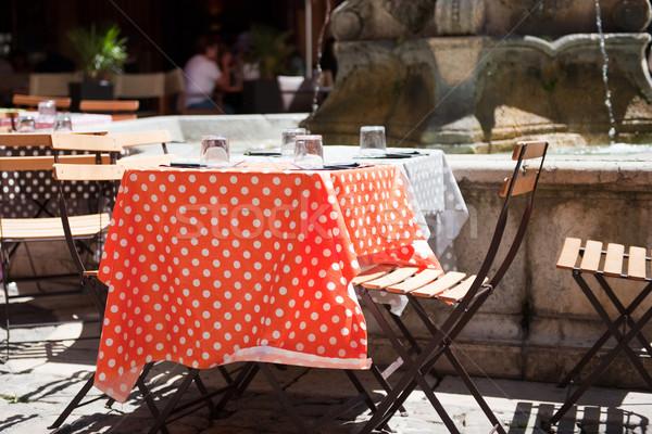 Vrolijk frans terras eten drinken outdoor Stockfoto © ivonnewierink