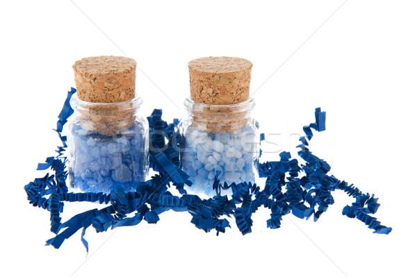 üvegek kék fürdősó üveg izolált fehér Stock fotó © ivonnewierink