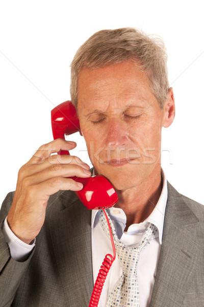 Bad news starszy człowiek telefonu wiadomości starszych Zdjęcia stock © ivonnewierink