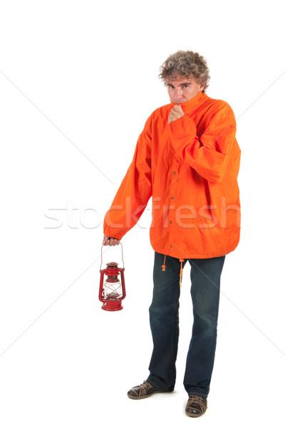 Slechte weer man lopen regen oranje Stockfoto © ivonnewierink