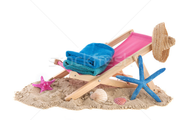 şezlong mavi kum plaj yaz Stok fotoğraf © ivonnewierink