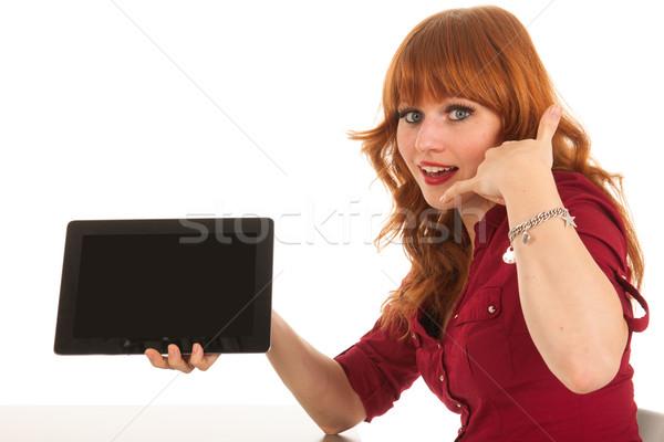 женщину таблетка просить вызова сидят Сток-фото © ivonnewierink