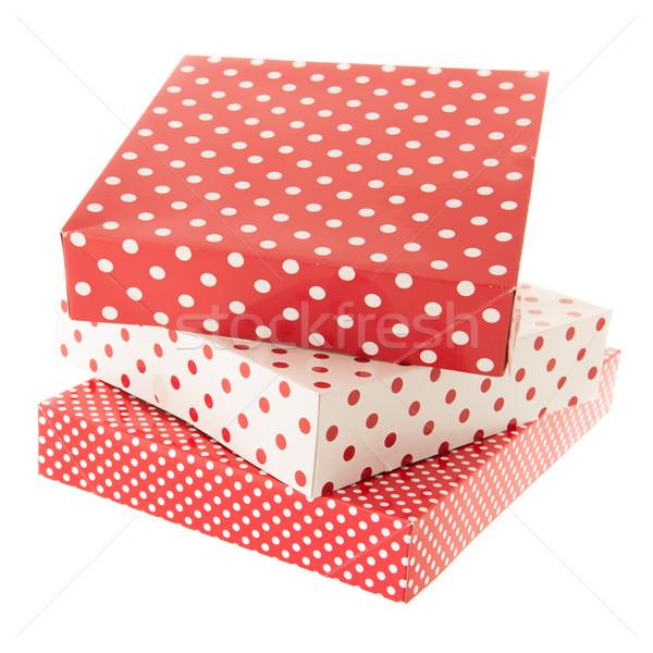 Rosso punteggiata regali isolato bianco Foto d'archivio © ivonnewierink