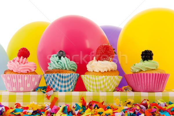 Stockfoto: Verjaardag · ballonnen · kleurrijk · boter · room