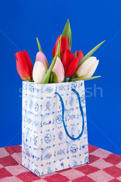 Nederlands souvenir zak tulpen boodschappentas boeket Stockfoto © ivonnewierink