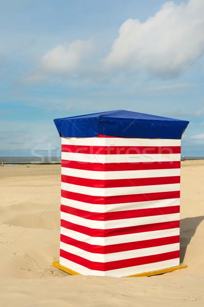 German wadden island Borkum with red striped chair Stock photo © ivonnewierink