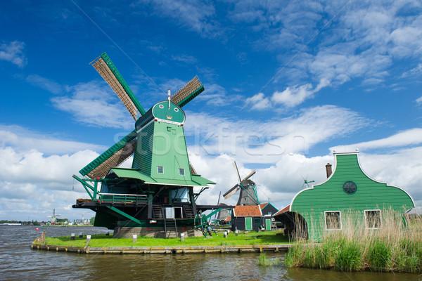 Green Windmill at Dutch Zaanse Schans Stock photo © ivonnewierink