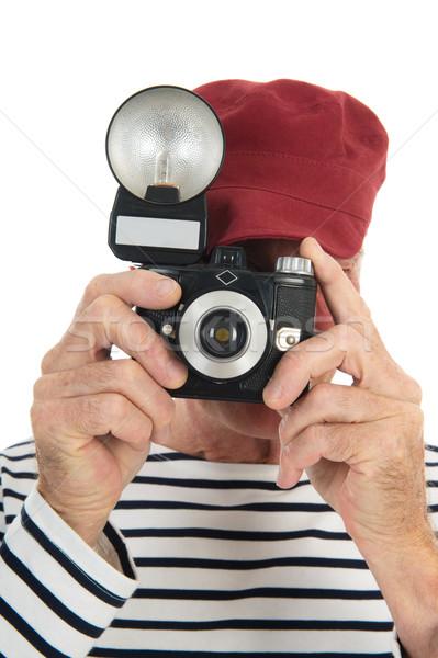 Portré nyugdíjas férfi elvesz kép régi fotó Stock fotó © ivonnewierink