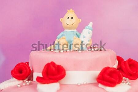 Baba született kártya rózsaszín kék torta Stock fotó © ivonnewierink