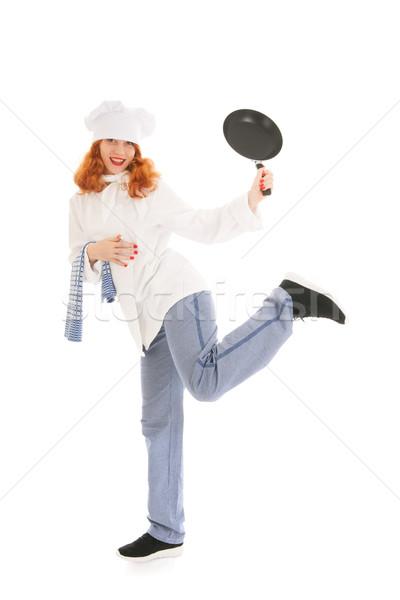 Bucătar-şef Dansuri tigaie tineri femeie Imagine de stoc © ivonnewierink
