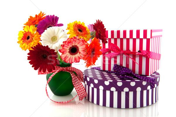 Gerber in vase with presents Stock photo © ivonnewierink