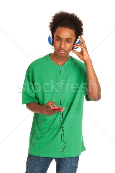 Dinleme müzik siyah erkek telefon Stok fotoğraf © ivonnewierink