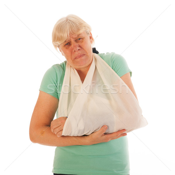 Old woman with broken wrist in gypsum and pain Stock photo © ivonnewierink