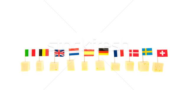 Formaggio bandiere fila internazionali isolato Foto d'archivio © ivonnewierink