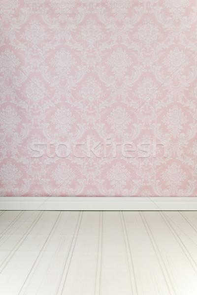 Epocă interior roz tapet camera de zi podea Imagine de stoc © ivonnewierink