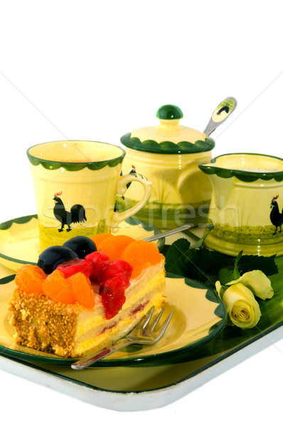 tray with coffee and fruit cake Stock photo © ivonnewierink
