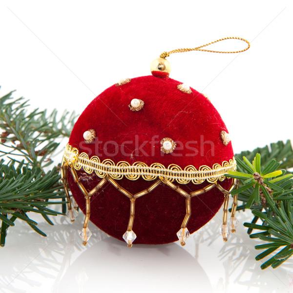 Kırmızı kadife Noel top yalıtılmış beyaz Stok fotoğraf © ivonnewierink