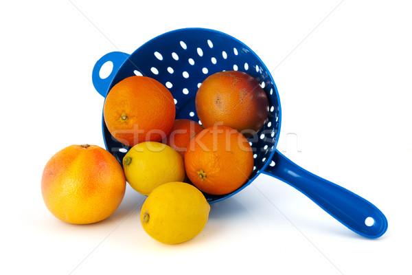 цитрусовые синий продовольствие фон лимона белый Сток-фото © ivonnewierink