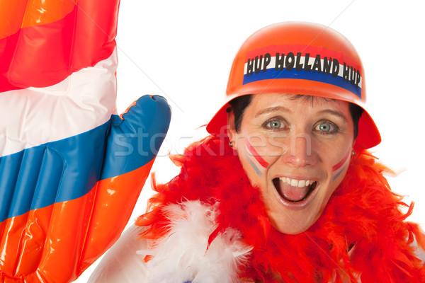 Nederlands vrouw voetbal fan oranje voetbal Stockfoto © ivonnewierink